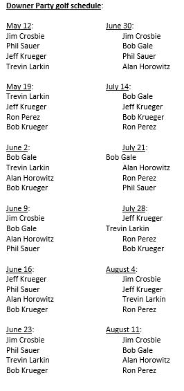 Downer Party Golf Schedule