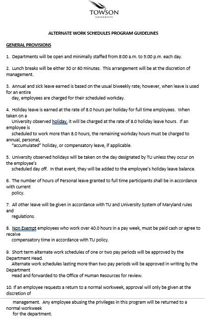 Editable Alternate Employee Work Schedule Word Doc