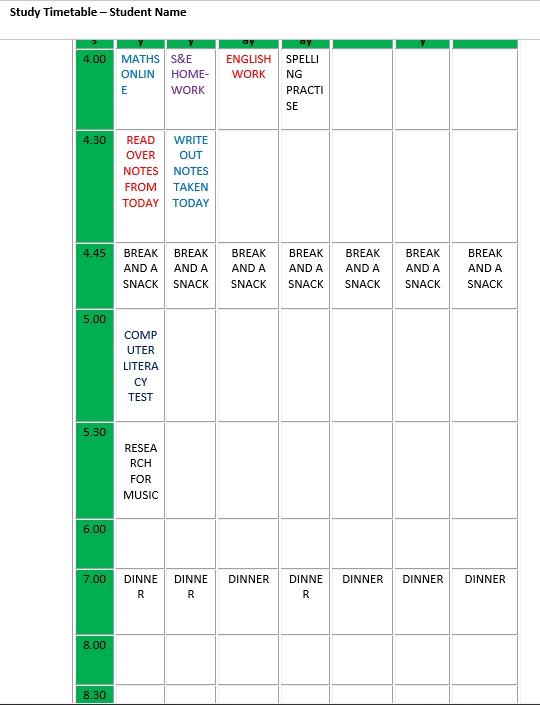 Editable Homework Study Timetable Schedule Word Format