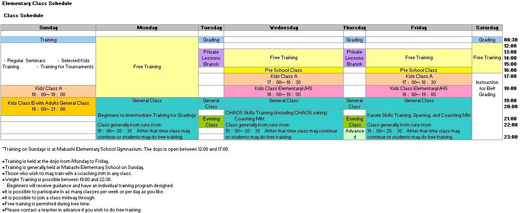 Elementary Class Schedule