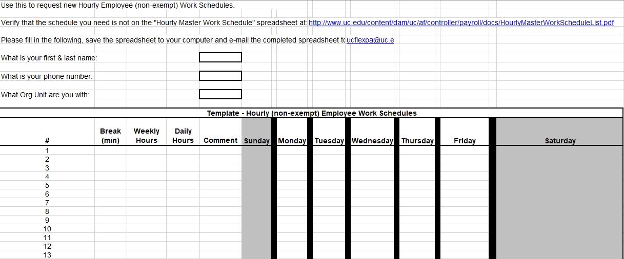 Employee Hourly Work Schedules Request