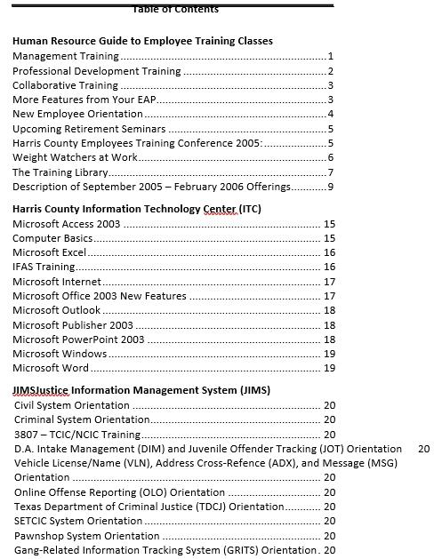 Employee Training Class Schedule