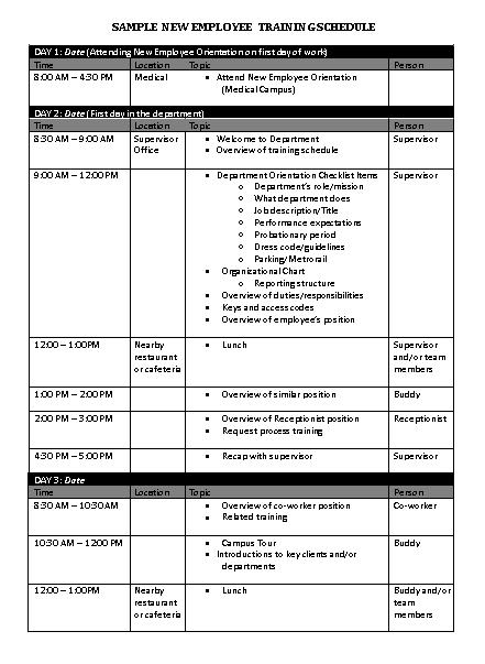 Employee Training Schedule 1 1