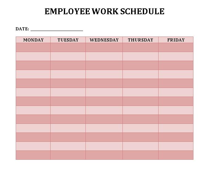 Employee Weekly Work Schedule MS Word