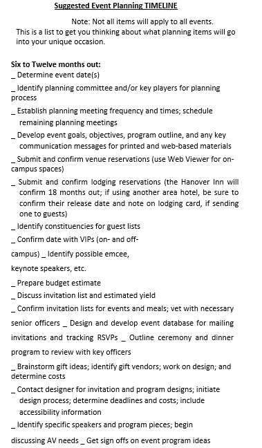 Event Planning Production Schedule
