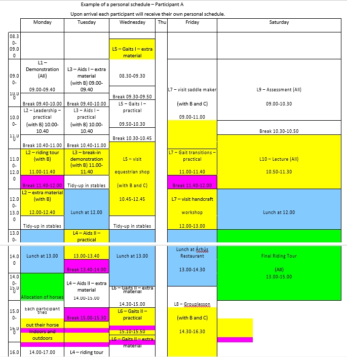 Example Personal Schedule