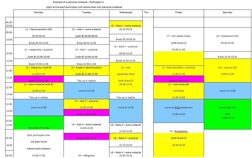 Example of Personal Schedule