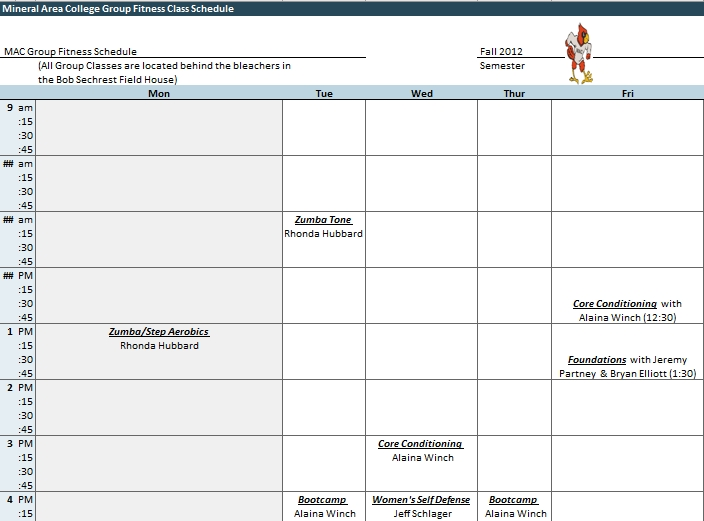 Excel College Class Schedule