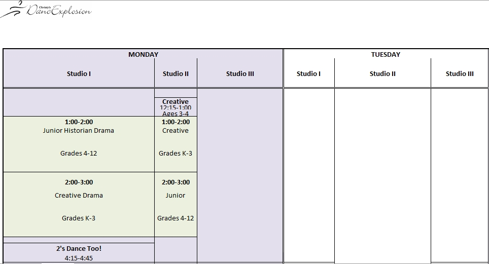 Excel Dance Class Schedule