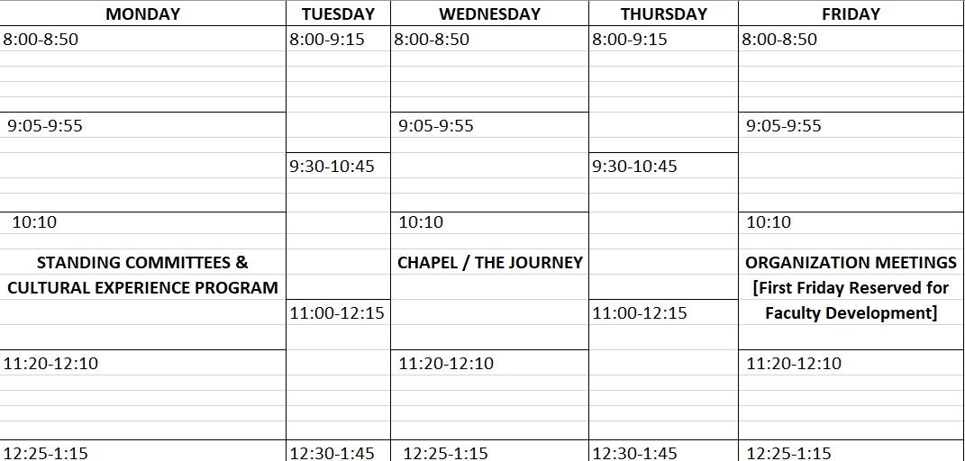 Excel Weekly Class Schedule