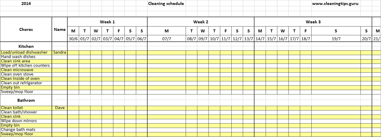 Excel Weekly Cleaning Schedule .doc