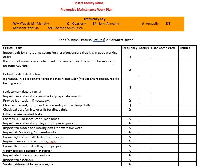 Facility Preventive Maintenance Schedule Printable