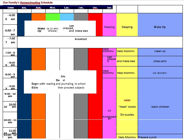 Family Home Schooling Schedule