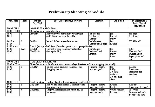 Film Preliminary Shooting Schedule