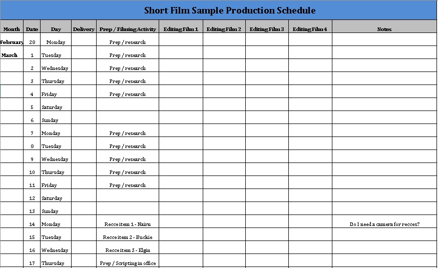 Film Production Schedule Download