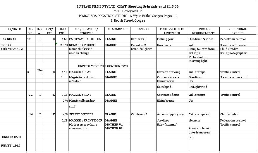 Film Shooting Schedule Excel Format