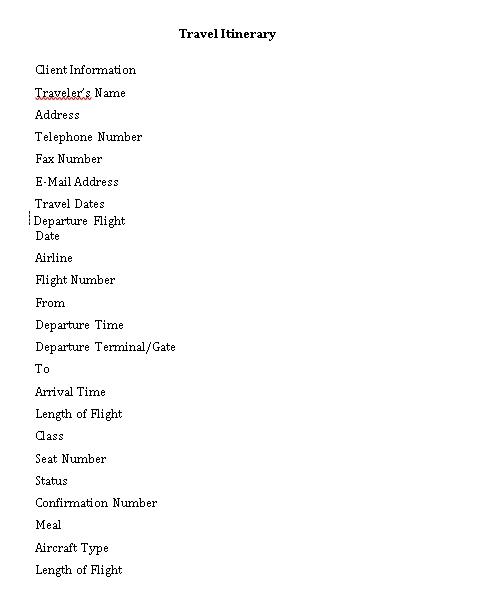 Flight Travel Itinerary Schedule Free