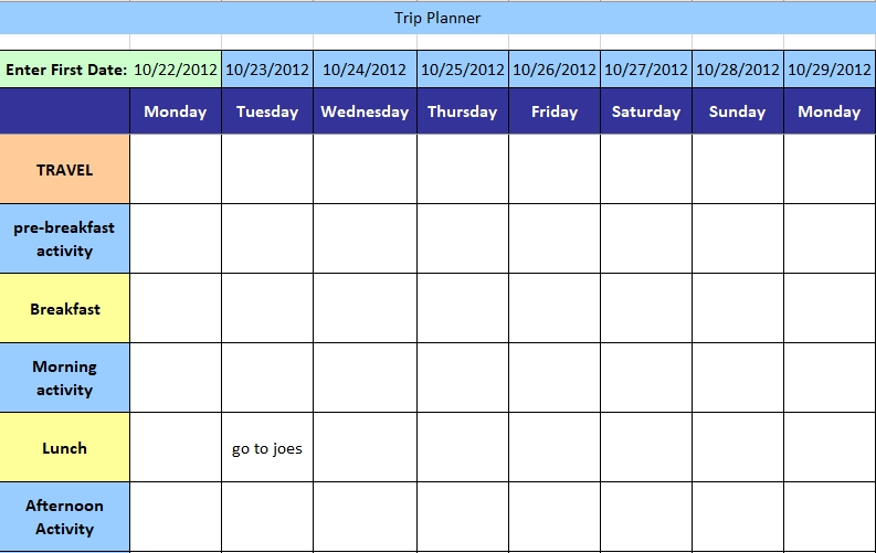 Holiday Trip Planning Schedule Excel