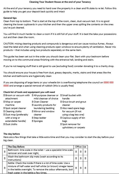 House Cleaning Schedule Checklist
