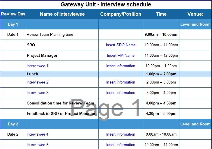 Interview Schedule Excel