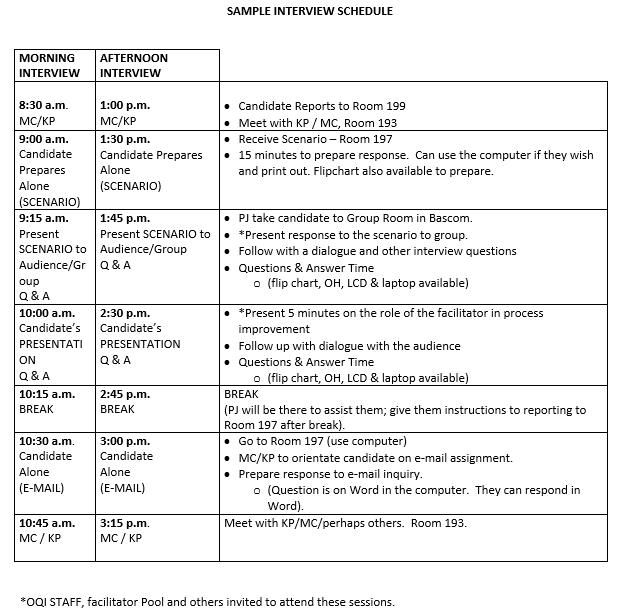 Job Interview Schedule