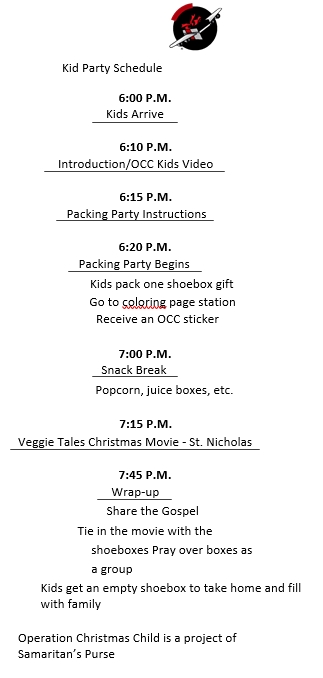 Kids Party Schedule Sample