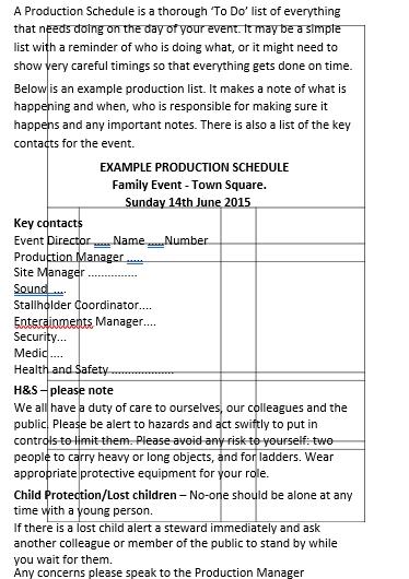 Live Event Production Schedule