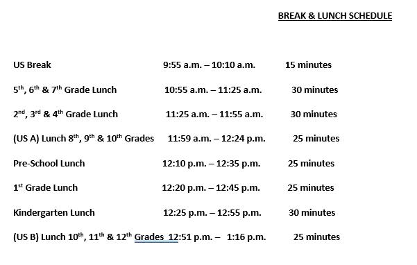 Lunch and Break Schedule