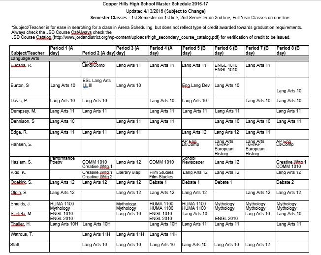 Master Schedule Example