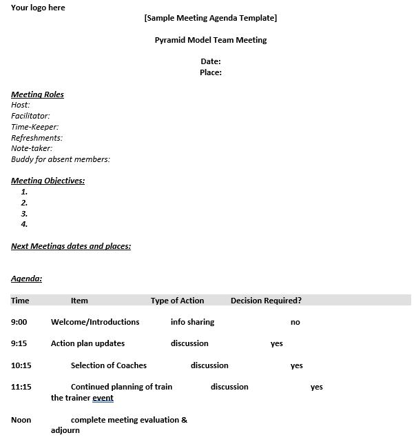 Meeting Schedule Word Format