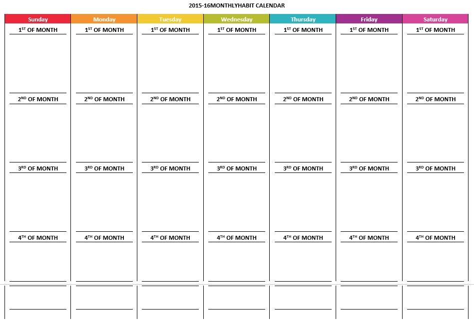 Monthly Habit Calendar Schedule