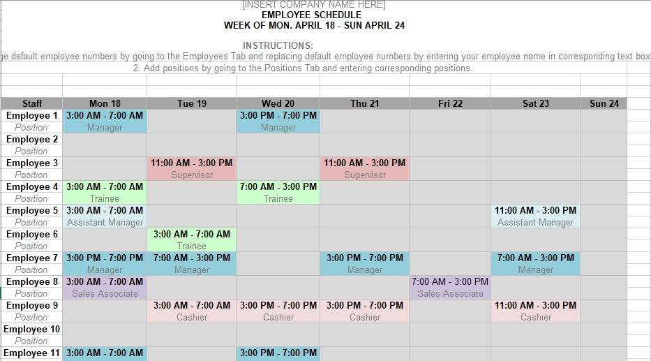 Monthly Shift Schedule Calendar