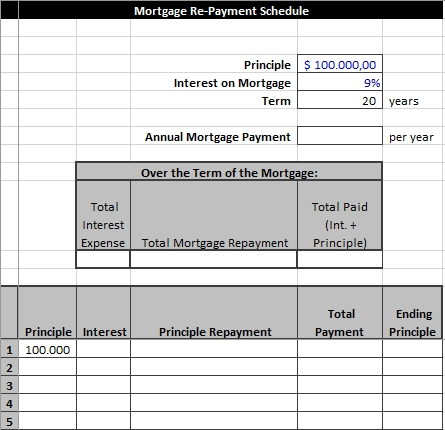 Mortgage Re Payment Schedule in Excel