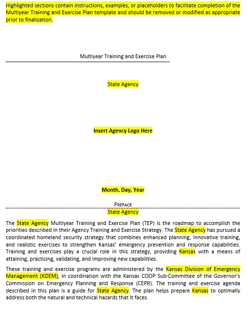 Multiyear Training and Exercise Schedule