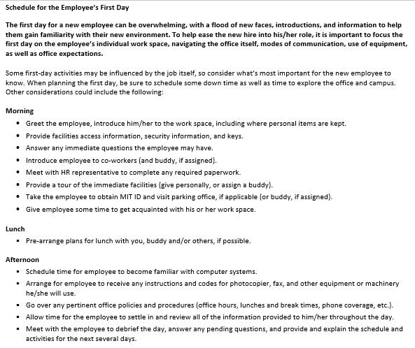 New Employee Orientation Schedule