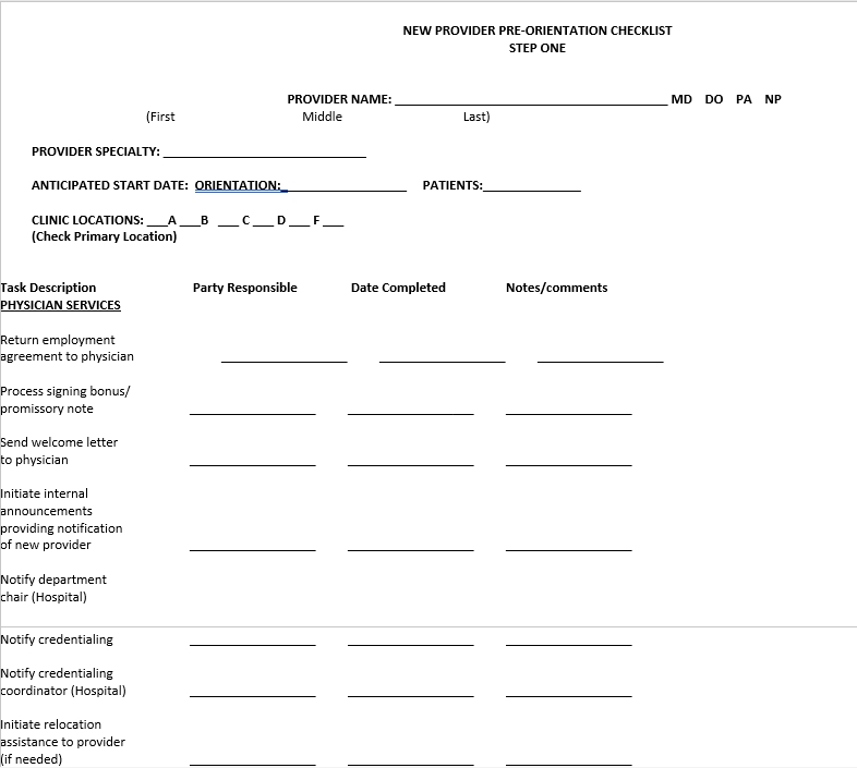 New Physician Orientation Checklist