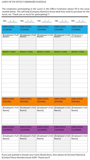 Office Lunch Schedule