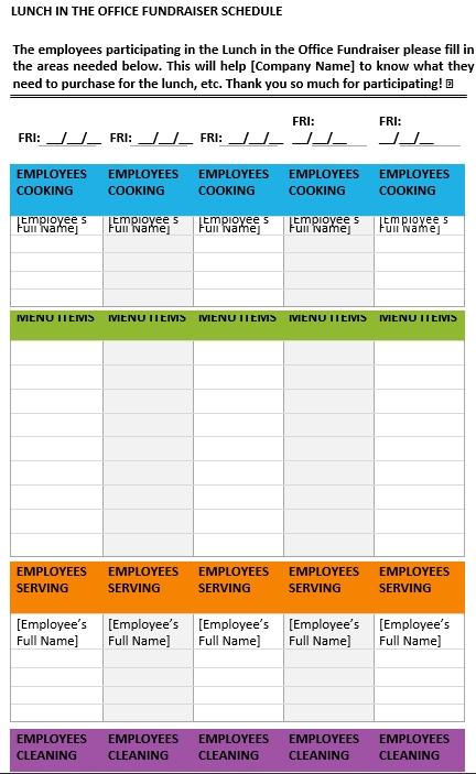 Office Lunch Schedule 1 1
