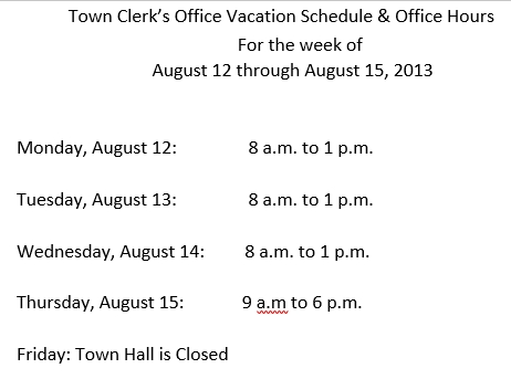 Office Vacation Schedule
