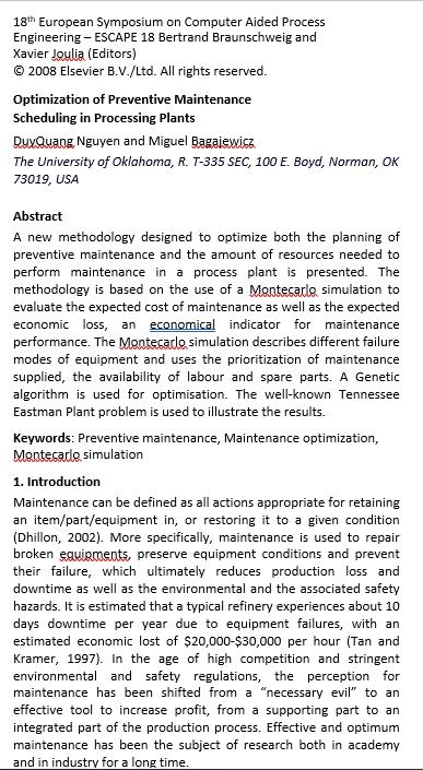Optimization of Preventive Maintenance Schedule Download