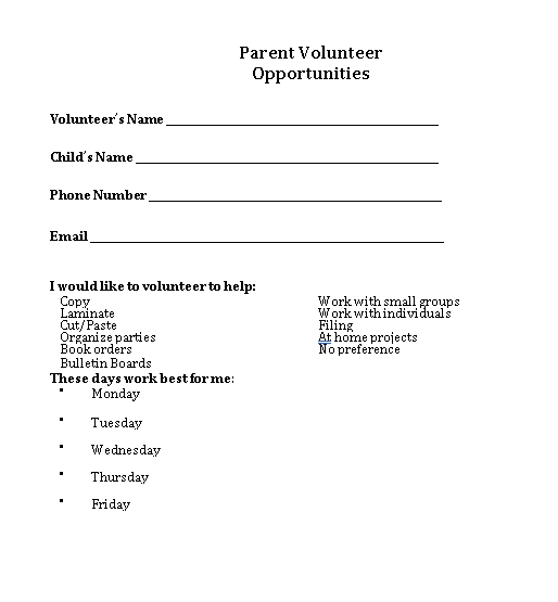 Parent Volunteer Schedule Oppotunities Download