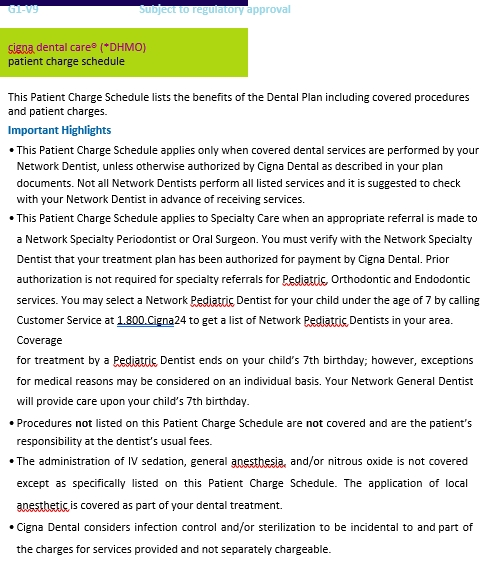 Patient Charge Schedule