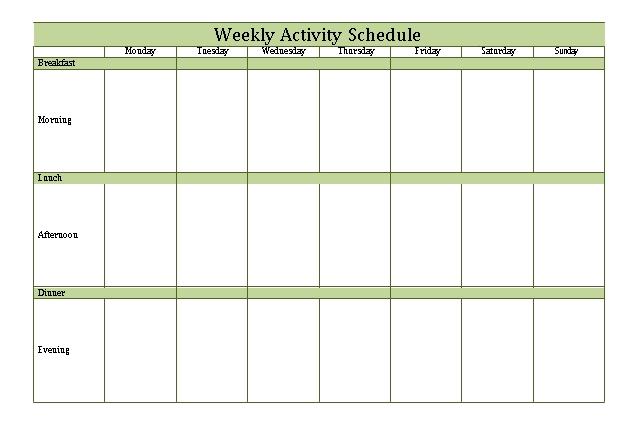 Patient Weekly Activity Schedule