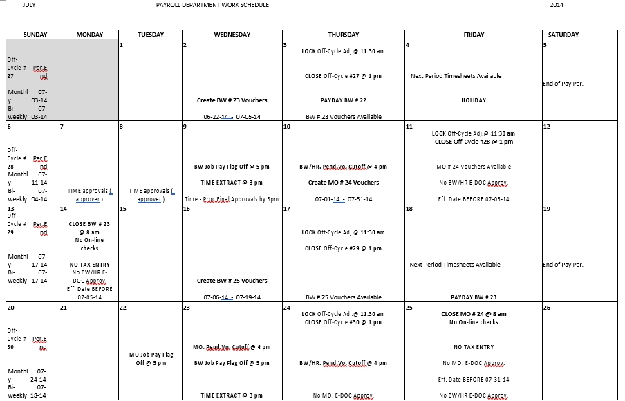 Payroll Department Monthly Work Schedule