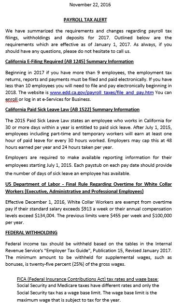 Payroll Tax Deposit Schedule