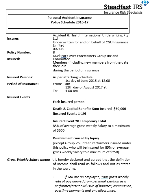 Personal Accident Policy Schedule