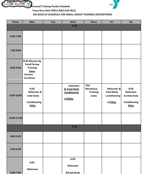 Personal Training Studio Schedule