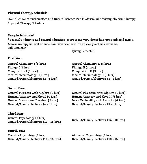 Physical Therapy Schedule