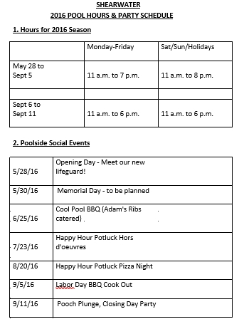 Pool Party Schedule