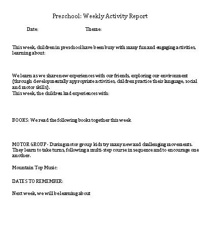 Preschool Weekly Activity Schedule